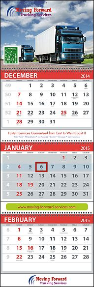Large 3 month view calendar for business advertising