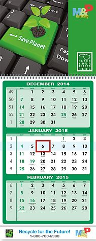 Large 3 month in view promotional calendar for business advertising