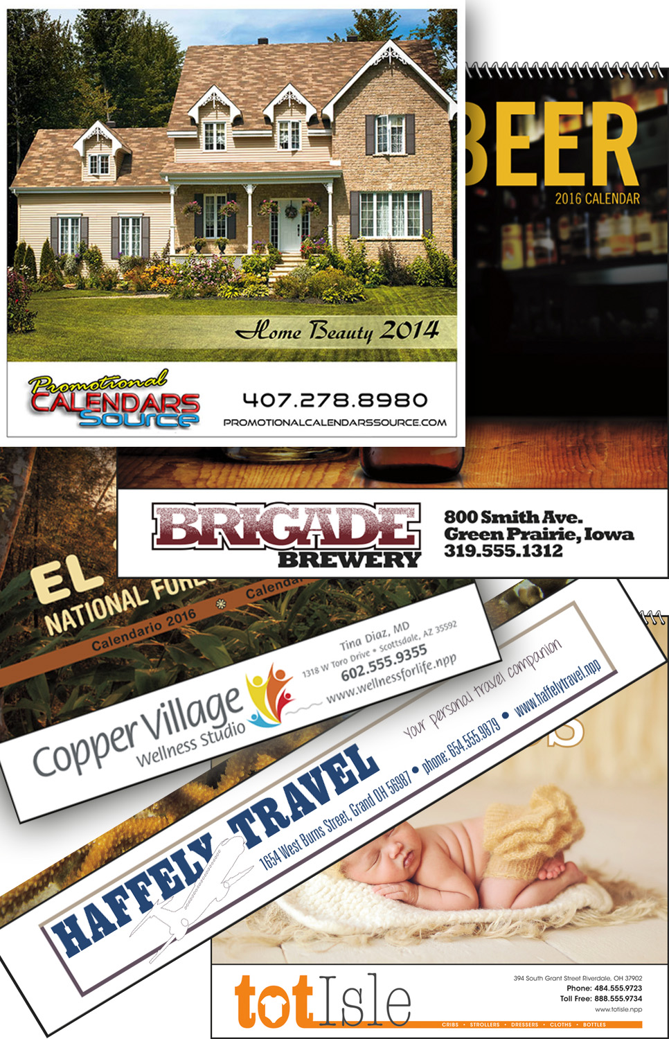 Promotional calendars with full color ad copy
