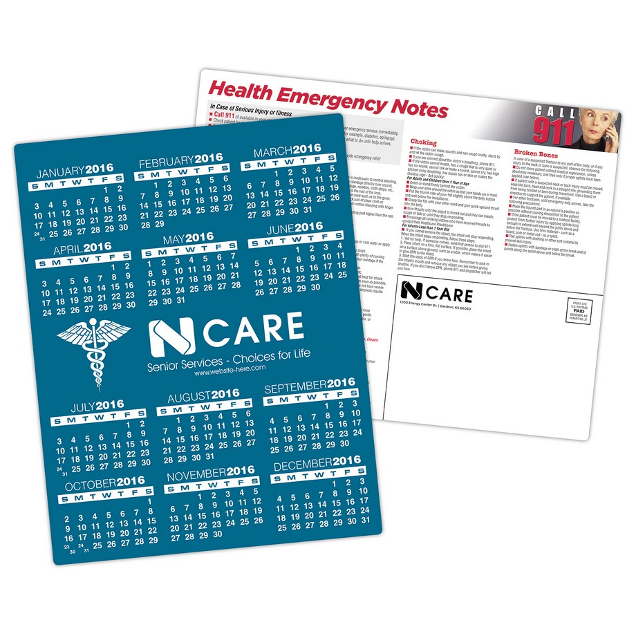 Laminated Card Calendar  8.5 x 11 - 14 pt. Full Color Imprint