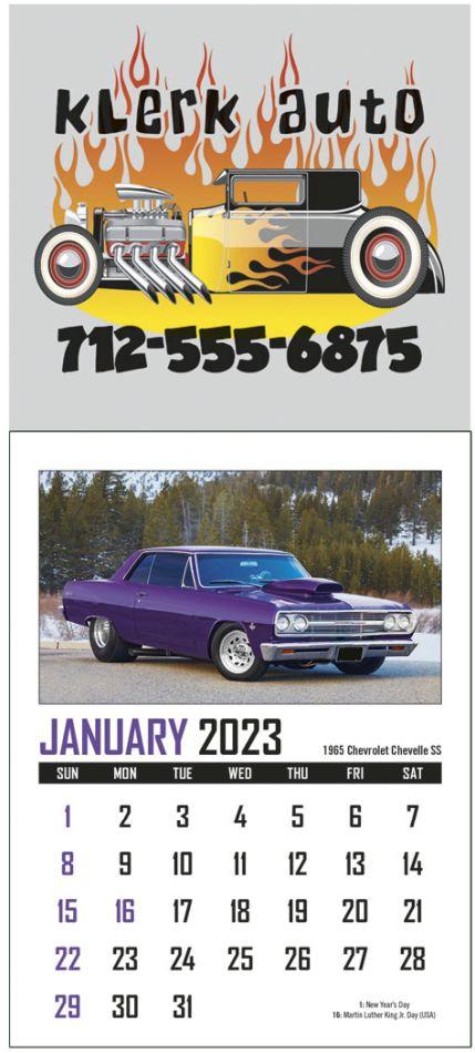 Full Color Adhesive Mini Automotive Calendar