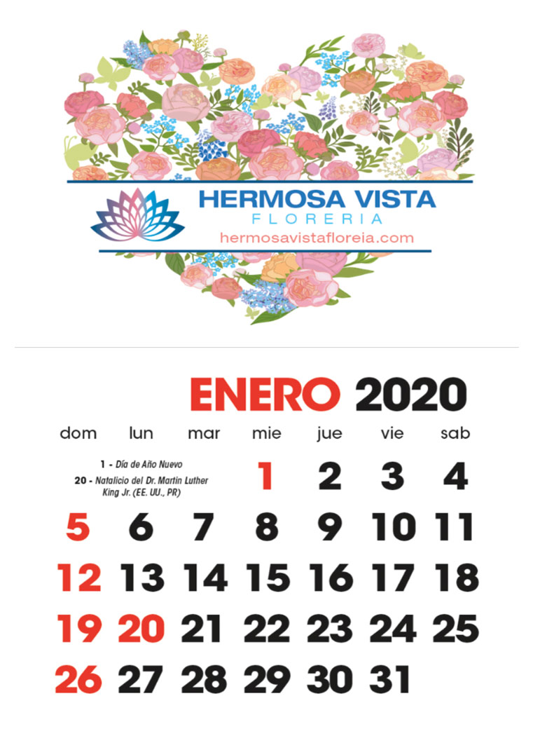 Full Color Adhesive Mini Spanish Calendar