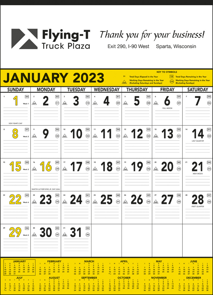 Yellow & Black Contractor s Memo (13-sheet) Promotional Calendar 2015