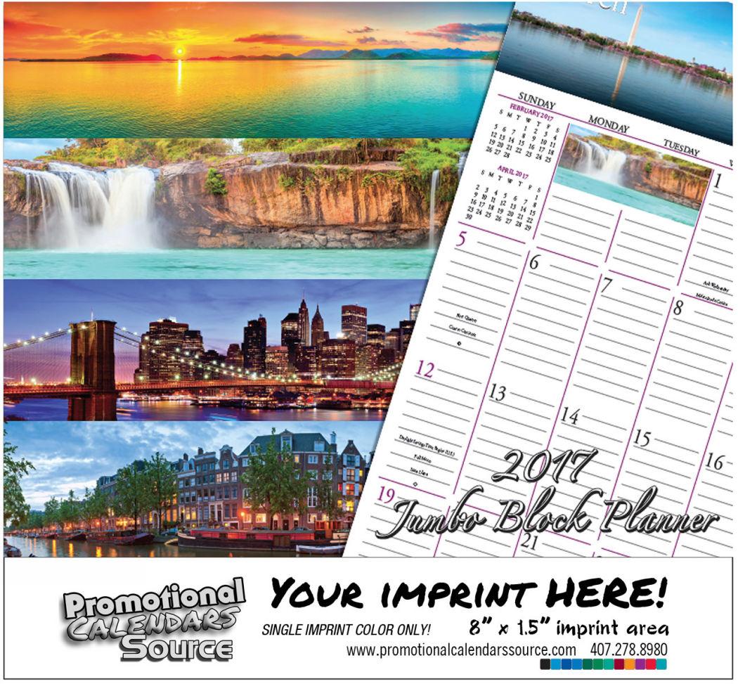 World Scenic Jumbo Block Planner Bilingual Calendar  Spanish/English
