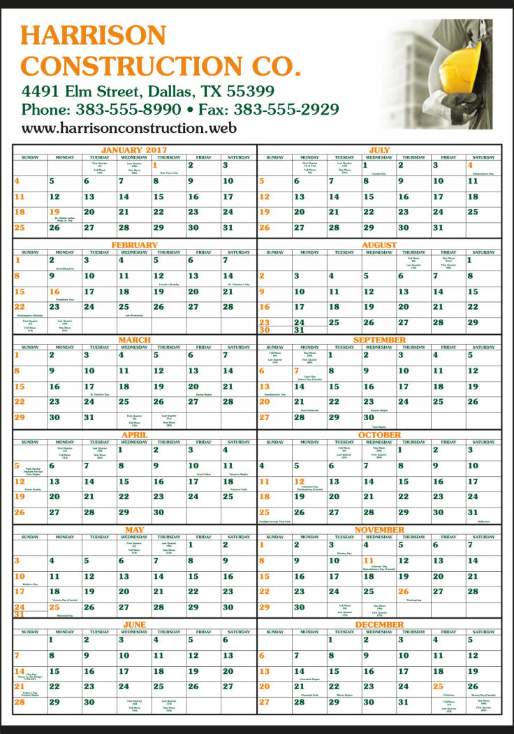 Custom Printed Full-Color Ad 12 Month-In-View Calendar 22x34