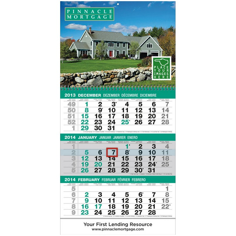 Custom 3-Month View Promotional Calendar w/Tear Off Pad & Drop Ad 12x24.5