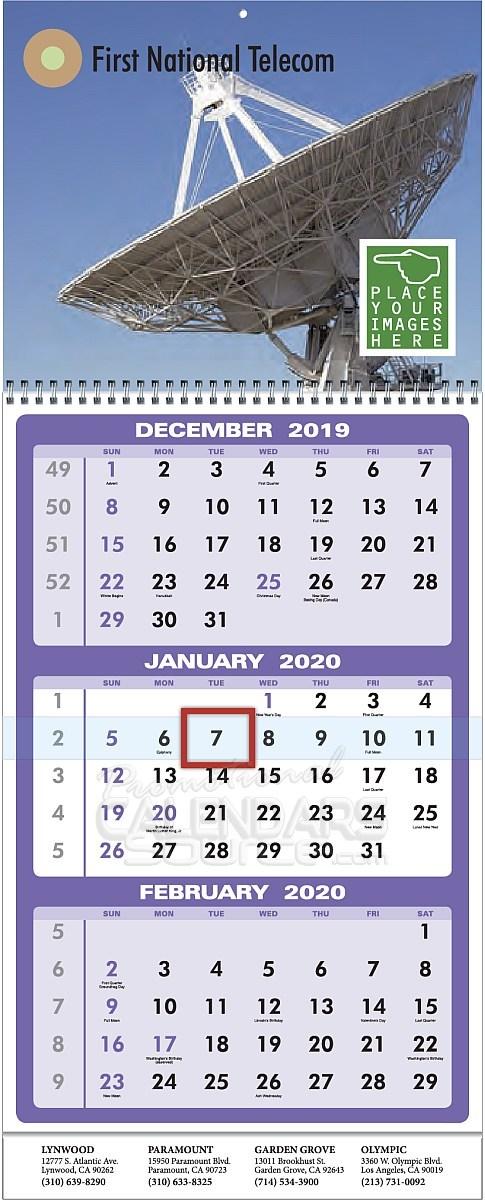 Custom 3-Month View Calendar w Drop Ad 11x27.5