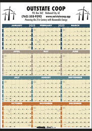 Time Management 12-Month-View Laminated w/Marker Calendar 27 x 38