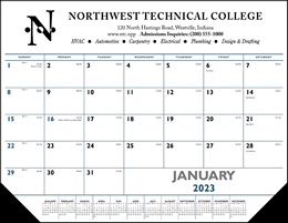 Desk Pad Calendar w Vinyl Corners Blue & Black imprint