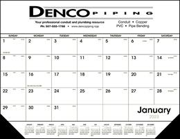 Black & White Desk Pad Calendar w/vinyl corners 22x17