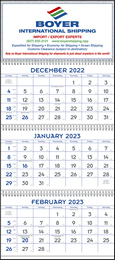 3 Month View Blue & Grey Commercial Planner Promotional Calendar 2017