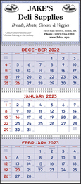 3 Month View Red & Blue Commercial Planner Promotional Calendar 2018