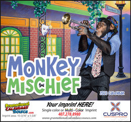 Monkey Mischief Promotional Calendar 2018 Stapled