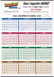 Full Year View Single Sheet 4-Color Calendar Size 22x29