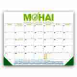 Personalized Desk Pad Calendar with Blue & Gold Grid - size 22x17