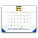 22x17 Desk Pad Calendar with Blue & Gold Grid & 3 Imprint Areas