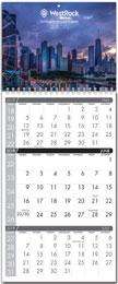 3 month per page custom wall calendar 11x25.5