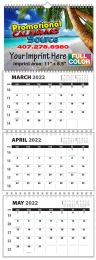 Custom 3-Month Four panel wall calendar w Numbered Weeks
