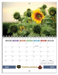 One month per page Spiral bound 8.5x11 Wall Calendar