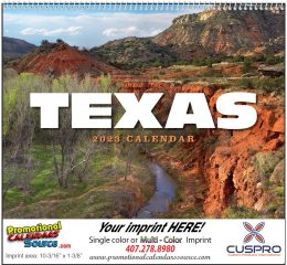 State of Texas Promotional Wall Calendar 2017 Spiral