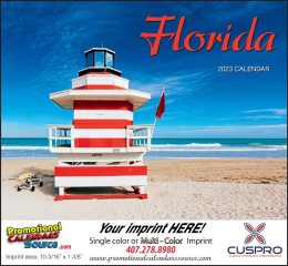State of Florida Promotional Wall Calendar 2018 Stapled