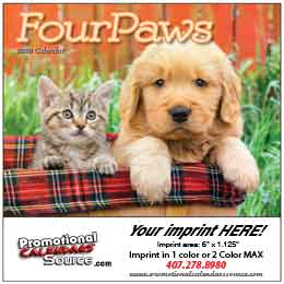 Four Paws Mini Wall Calendar 2015