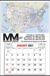 Large Format Calendar with U.S.A. Map and 12 Month Pad 25x38