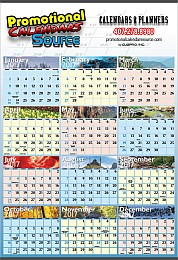 Year at a Glance Wall Calendar 27x39 World View