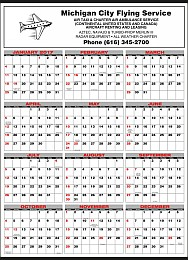 Mid Size Year In View Calendar 19.5x28 Black & Red Grid
