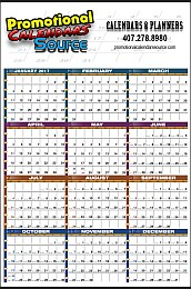 Year-In-View Wall Planner Calendar 25x38 Multicolor