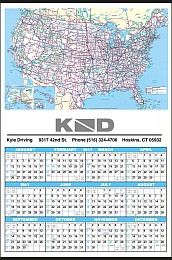 Mid Size U.S. Map Year In View Custom Printed Calendar 17x25