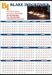 Full Color Ad Copy Year-In-View Planner Calendar 22x34