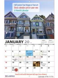 13 Months Fully Custom Wall Calendar, Stapled, Size 11x17, Full Color Imprint, Your Images, Your Art