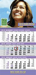 3-Month View Custom Commercial Calendar 12 x 25