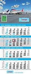 4-Month View Commercial Calendar with Full Color Drop Ad 12 x 27
