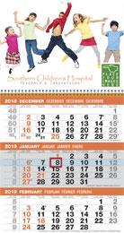 Custom 3-Month View Logistics Calendar w Tear Off Pad 12x23
