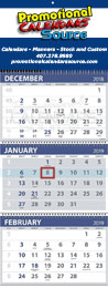 3-Month View 4 panels Commercial Calendar Spiral 13x33